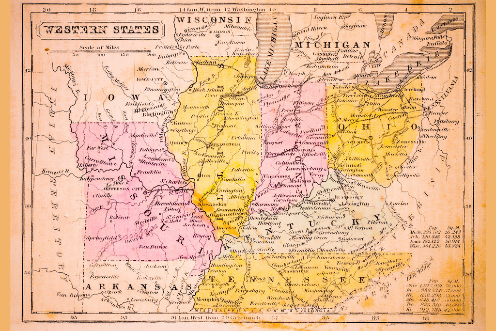 Western States of United States Antique Style Map Poster 18x12 ...
