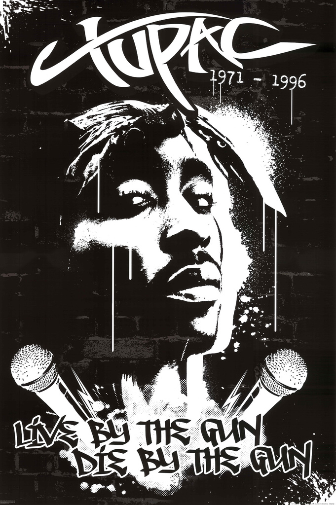 Tupac 2Pac Drawing Live By The Gun Die Rap Rapper Poster 24x36