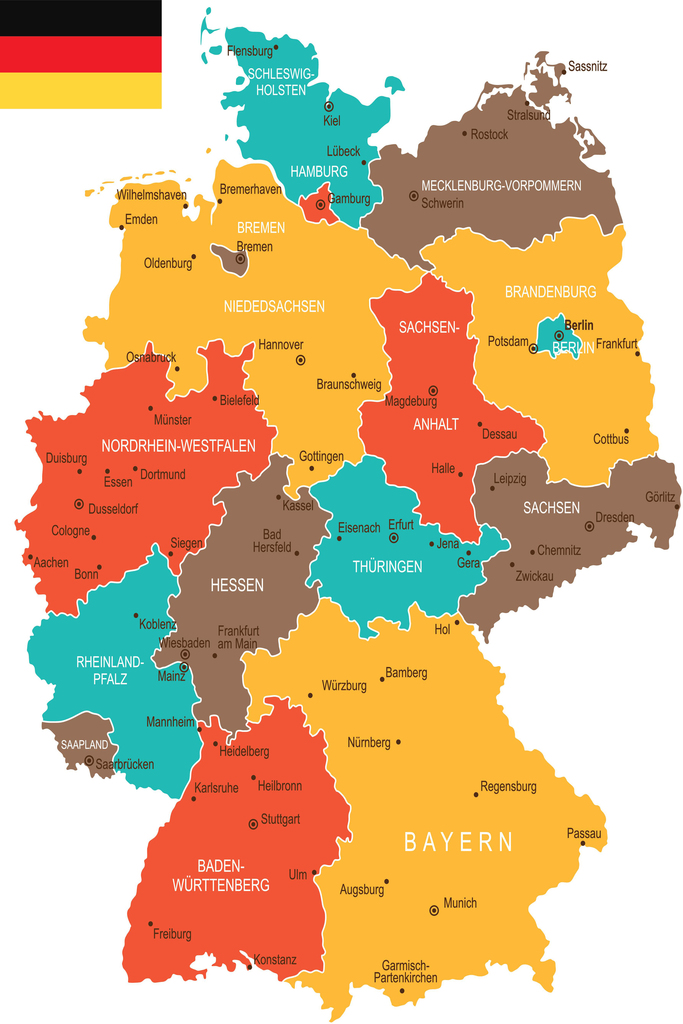 Geographical Map of Germany Art Print Poster 12x18 eBay