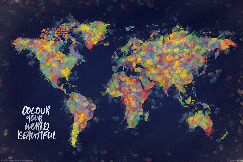 Picture of: Colour Your World Beautiful Map Color Art Print Poster 24×36 638211982701 Ebay