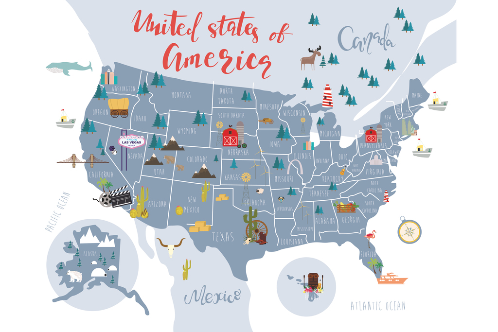 Details about United States Of America Map With State Symbols Art Print  Poster 18x12 inch