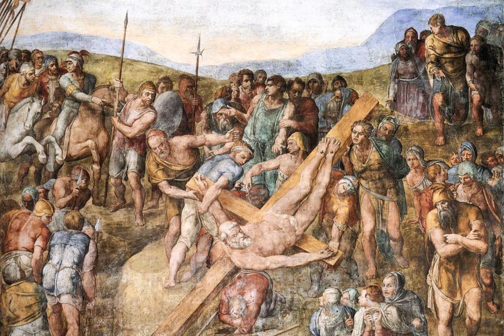 Michelangelo Crucificação De São Pedro Fine Art Pôster 24x36 Polegadas