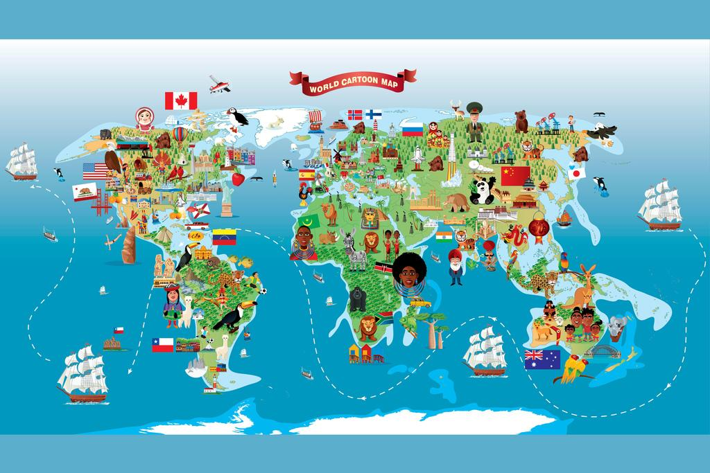 Cartoon World Map Children Animals Monuments Educational Poster 18x12 inch