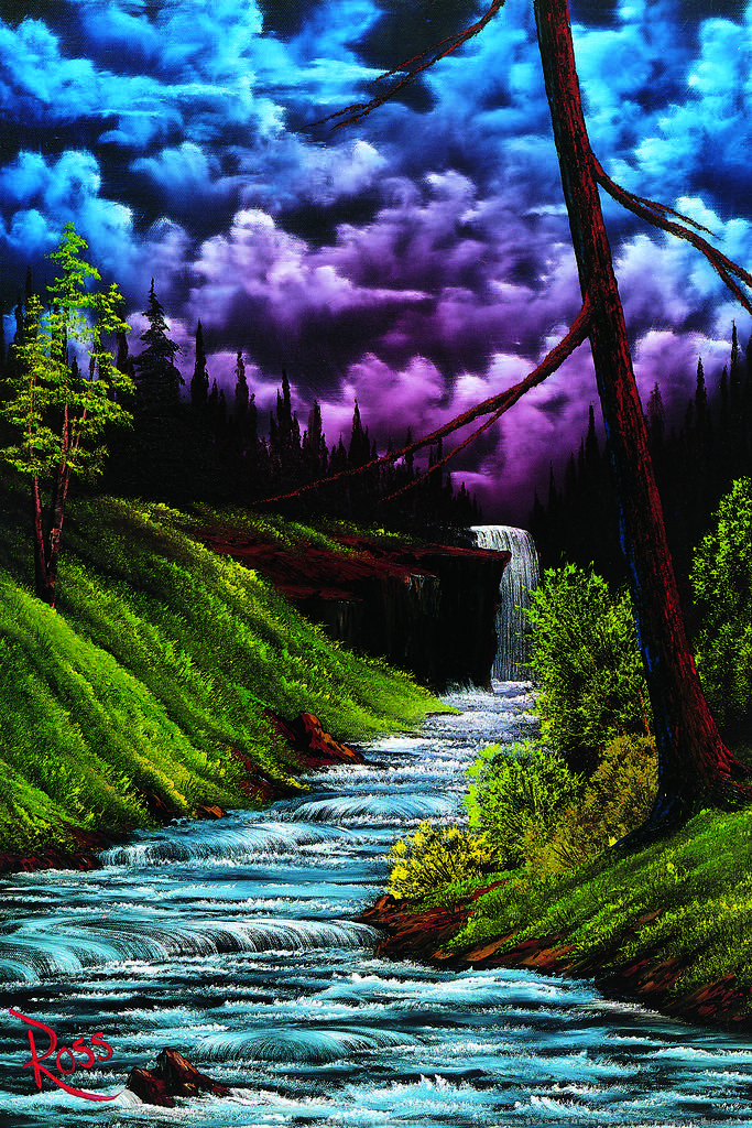 Details about Bob Ross Black Waterfall Art Print Painting Mural Poster  36x54 inch