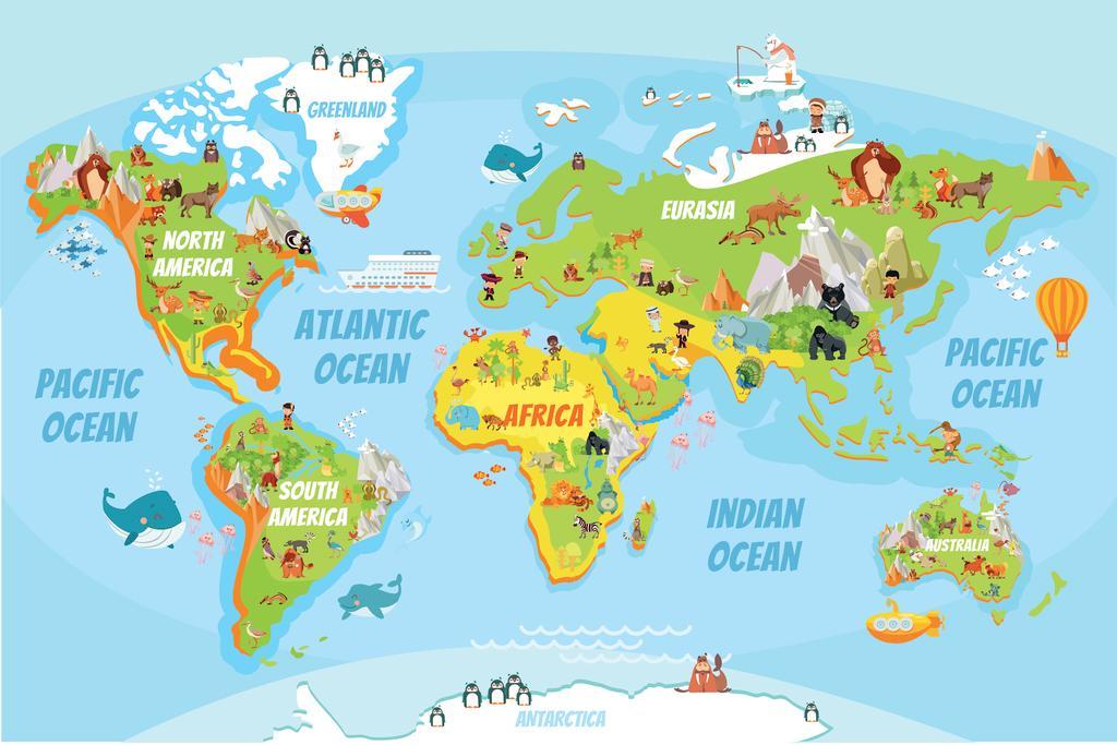 Educational Kids Global World Map Cartoon Animals Poster 24x36 inch ...