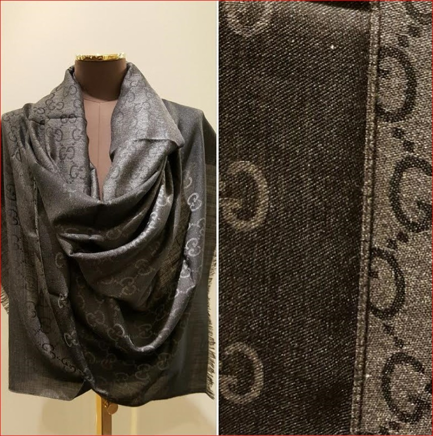 gucci sale large size scarf charcoal buyma