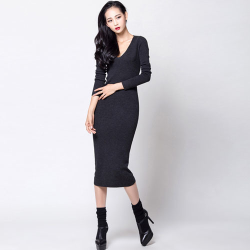 MIDI-length slim knit long dress