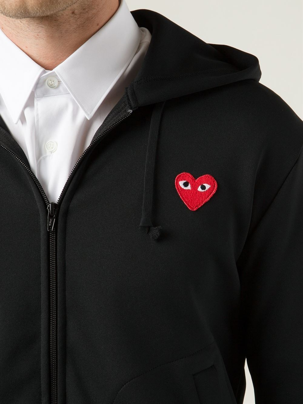 comme des garcons play heart embroidered hoodie buyma. Black Bedroom Furniture Sets. Home Design Ideas