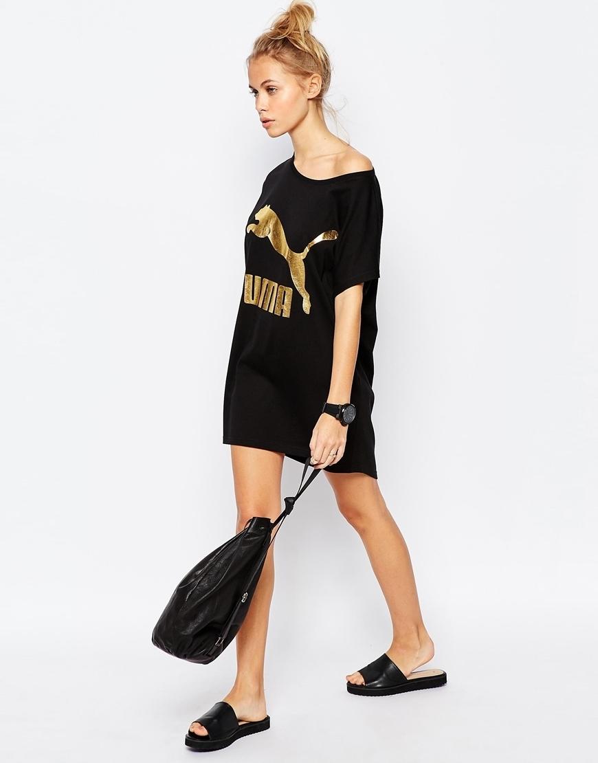 Puma gold logo t shirt dress buyma for Logo t shirt dress