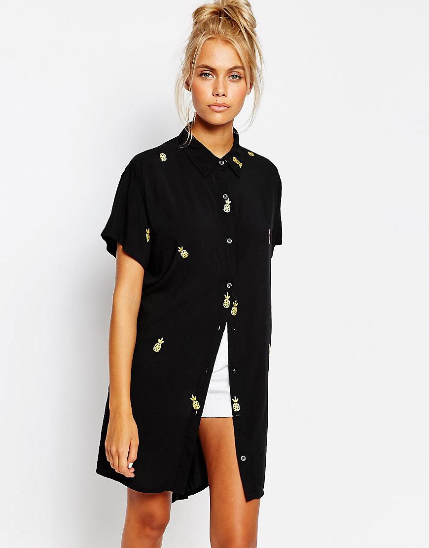 Lazy oaf pineapple long line short sleeve shirt buyma for Long line short sleeve t shirt