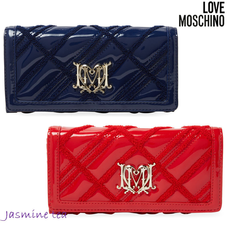 sale love moschino leather patent long wallet buyma. Black Bedroom Furniture Sets. Home Design Ideas
