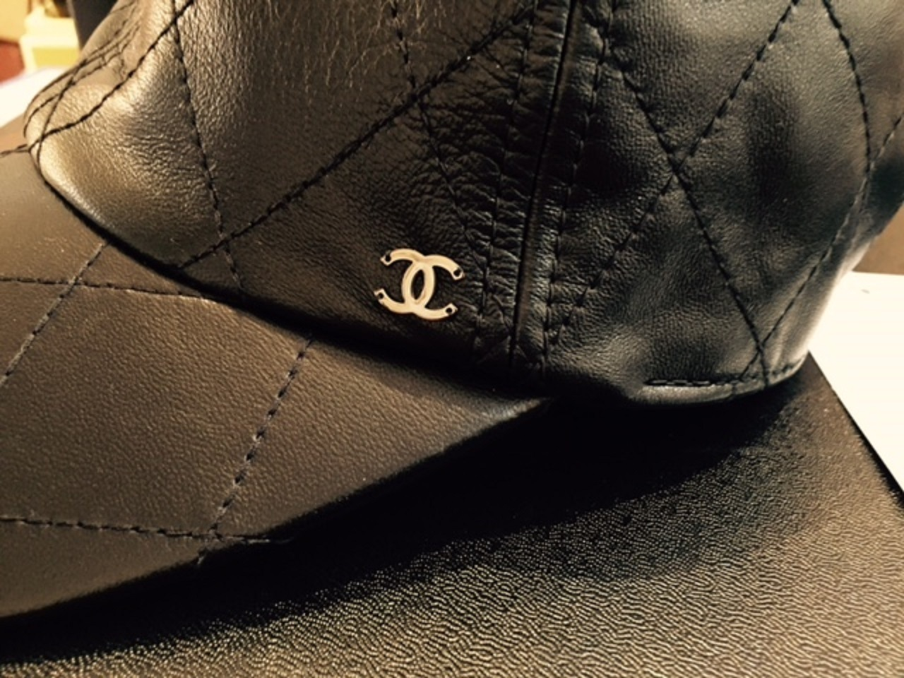 black quilted leather chanel baseball cap buyma