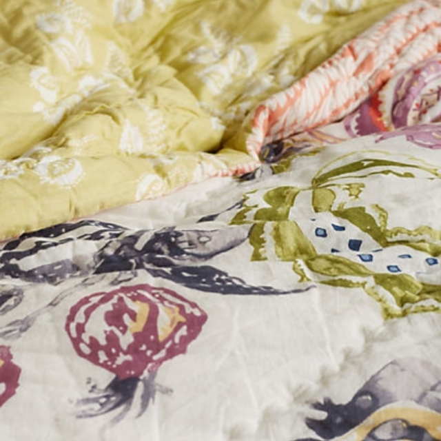 Anthropologie Floral Patterned Quilt Bed Cover Buyma