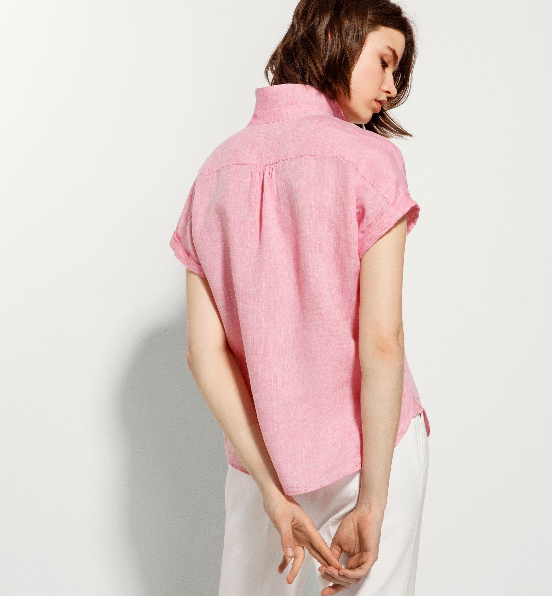 Massimo Dutti short sleeve linen blouse all 5100 / 598