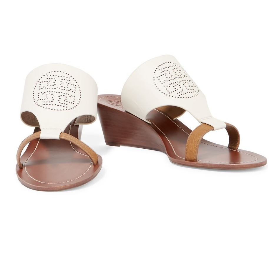 sale tory burch perforated leather wedge sandals buyma. Black Bedroom Furniture Sets. Home Design Ideas