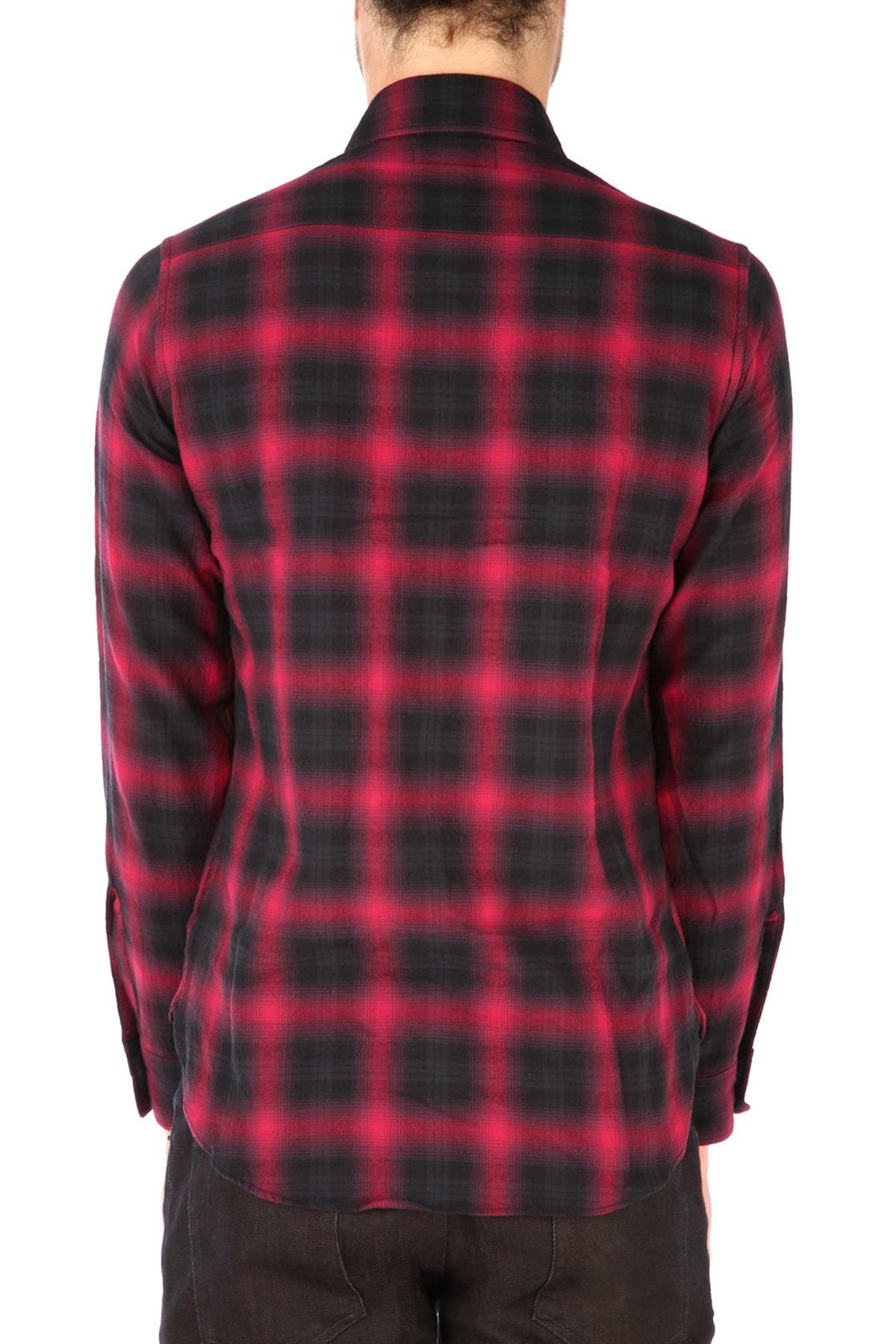 17 aw new saint laurent block check shirt red s buyma for Saint laurent check shirt