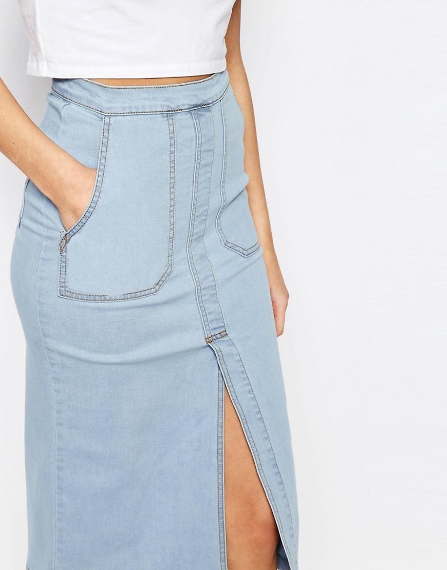 boohoo denim pocket pencil skirt slit with buyma