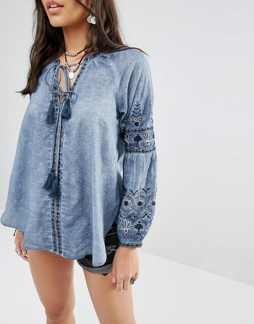 denim blouse asos   smart casual blouse