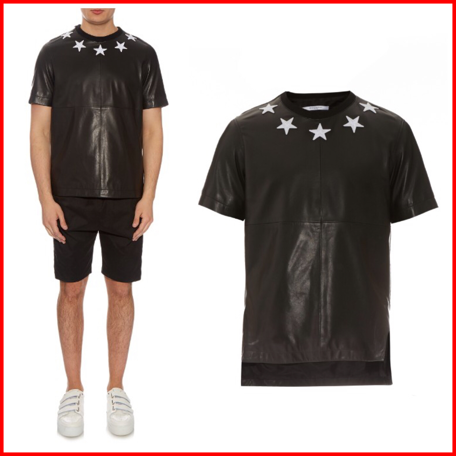 Givenchy sale star embroidered leather t shirt buyma for Givenchy t shirts for sale