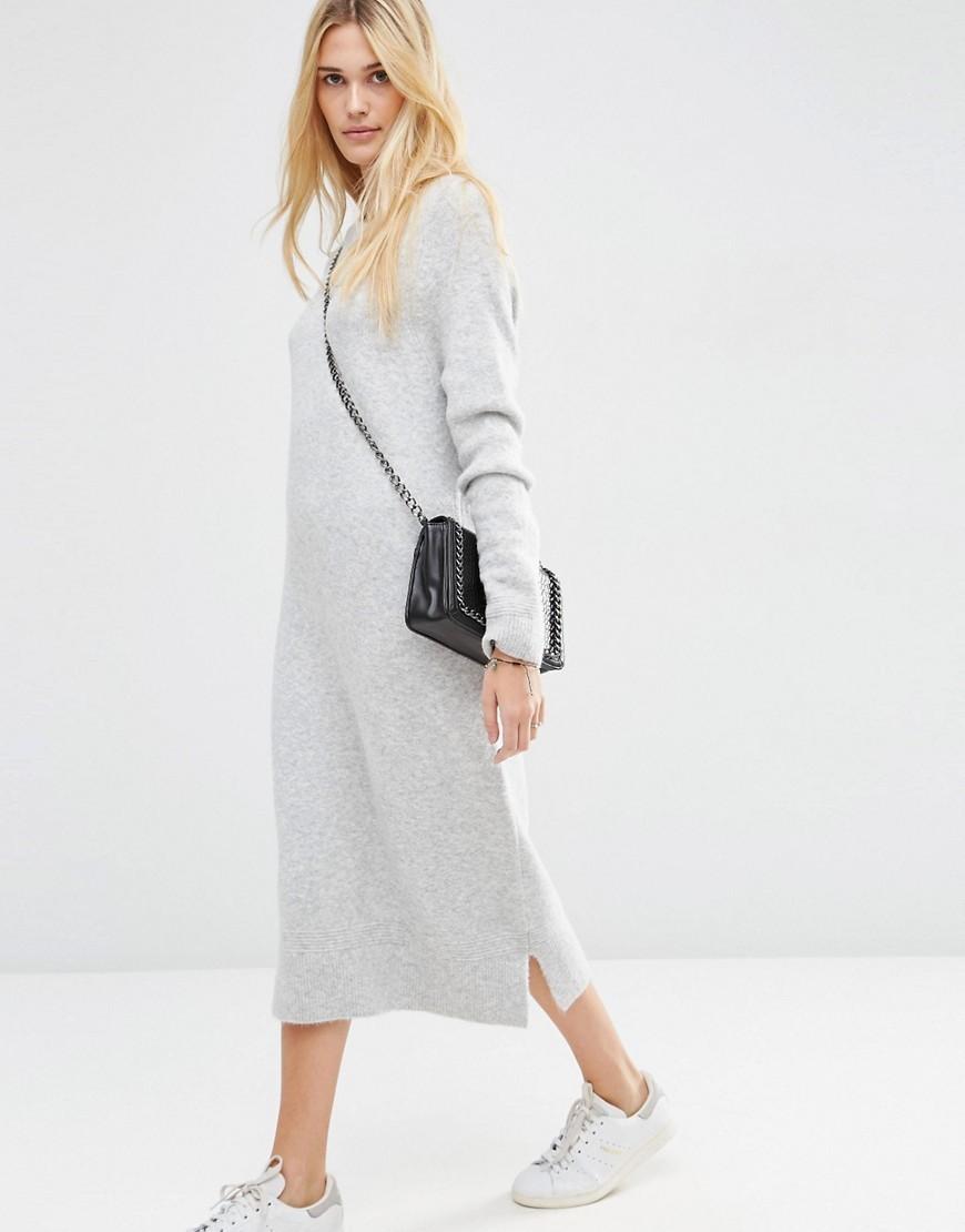 asos wool mix midi jumper skirt buyma
