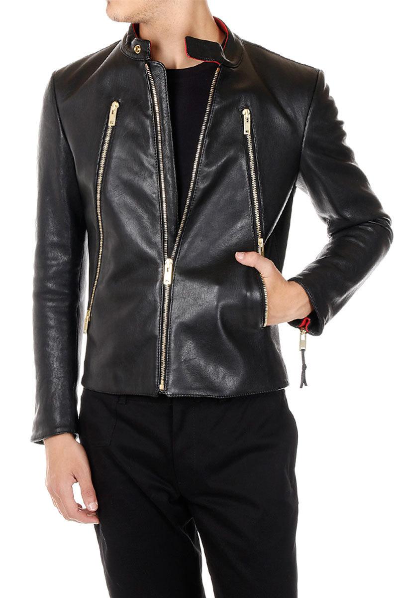low cost maison margiela mm14 leather jacket buyma. Black Bedroom Furniture Sets. Home Design Ideas