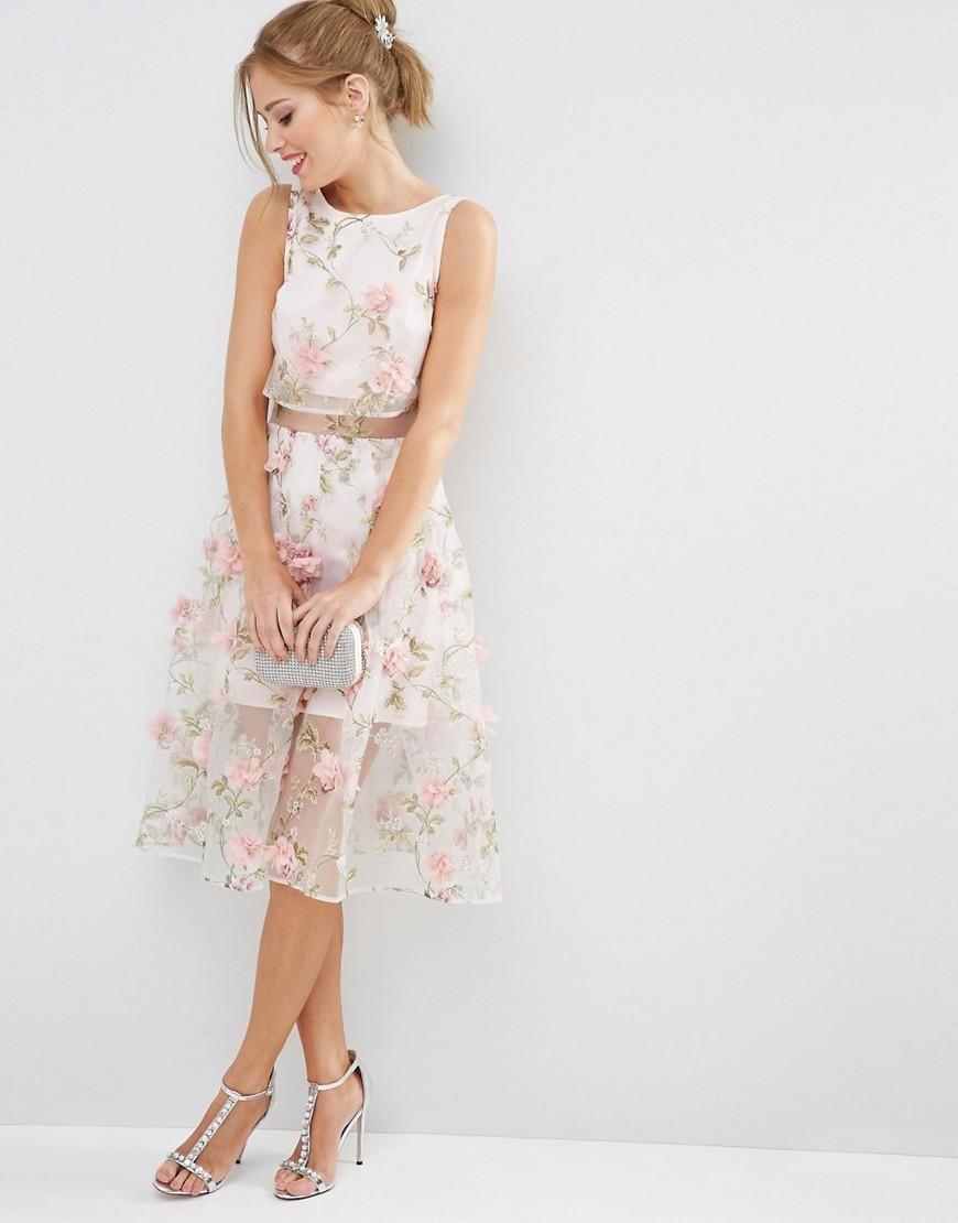 Asos 3d Flower Pink Crop Top Midi Dress Buyma