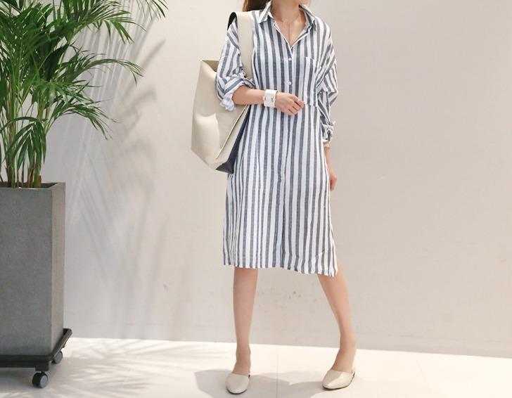 Korea medium stripe casual shirt dress buyma for Dress shirt vs casual shirt