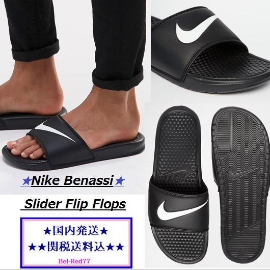 nike trend benassi shower sandals black buyma