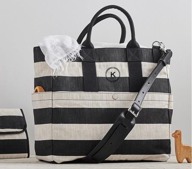 pottery barn monotone diaper bag name put friendly buyma. Black Bedroom Furniture Sets. Home Design Ideas