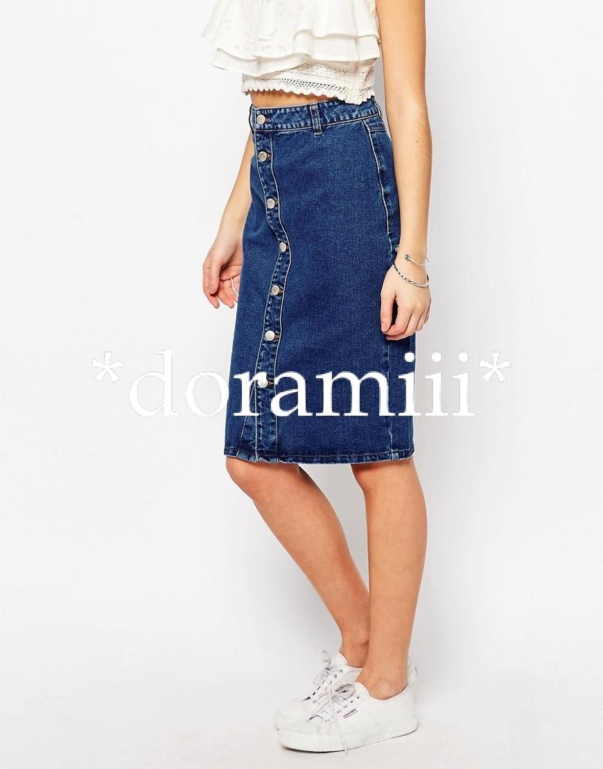 new look clothes turn the preeminent denim midi skirt