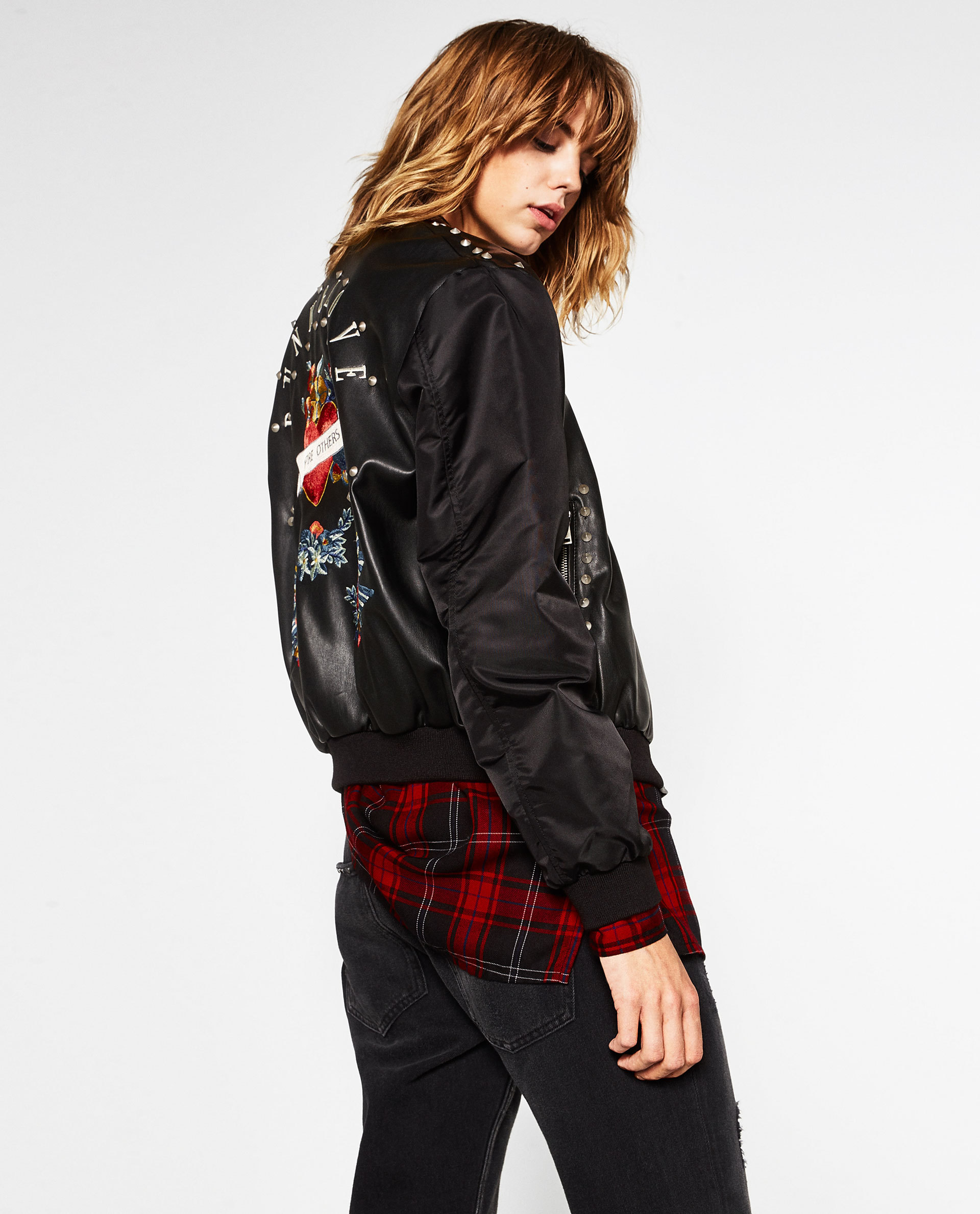 Zara artificial leather embroidered studded bomber jacket