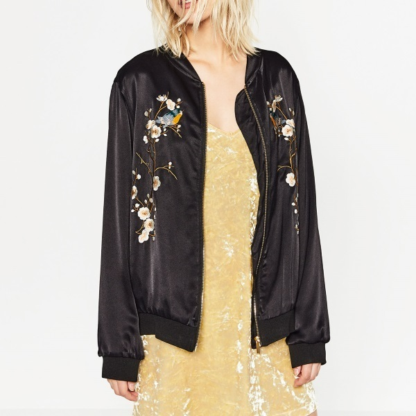 Quot zara floral embroidery bomber jacket black buyma