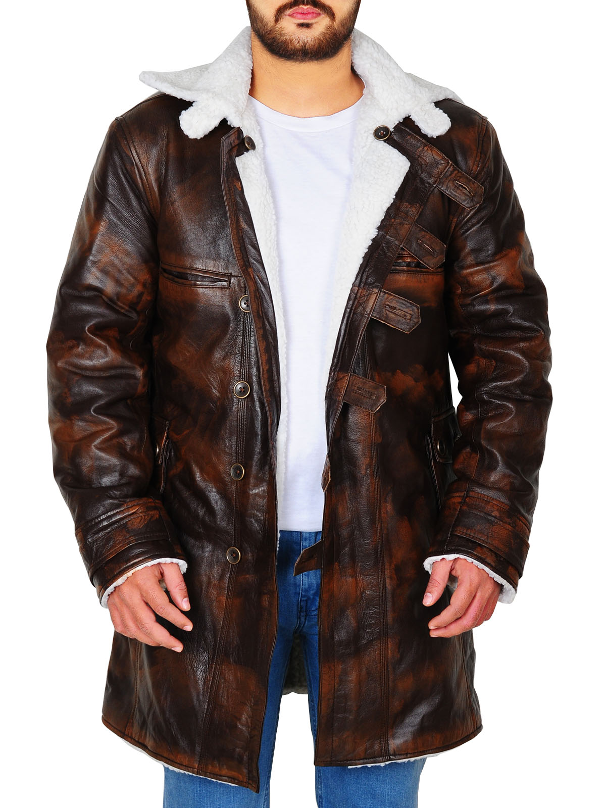 Tom Hardy Bane Dark Knight Rises Real Leather Faux Fur Coat Jacket for men
