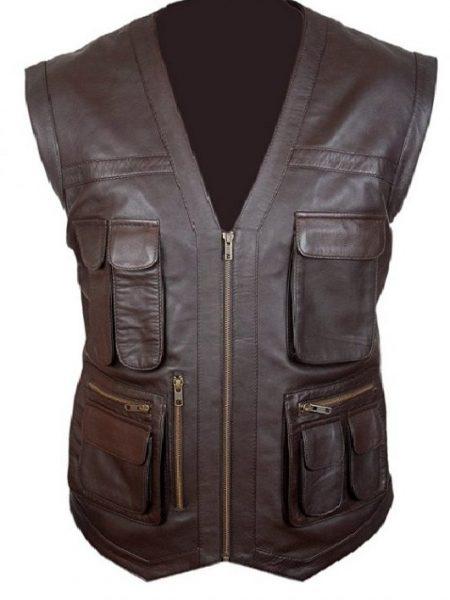 Eye Catching Chris Pratt Jurassic World Brown Leather Vest