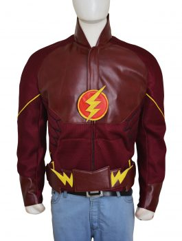 American Television Series Grant Gustin The Flash Burgandy Leather Jacket