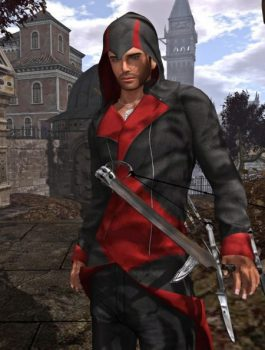 Assassins-Creed-3-Hoodie-Black-And-Red Costume
