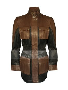 Famous Women Brown Leather Jacket