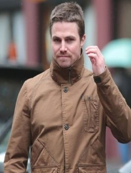 Arrow Oliver Queen Stephen Amell brown leather Jacket
