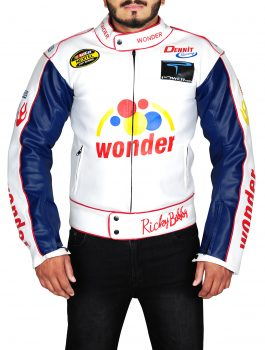 Talladega Nights Ricky Bobby Wonder White Racing Leather Jacket