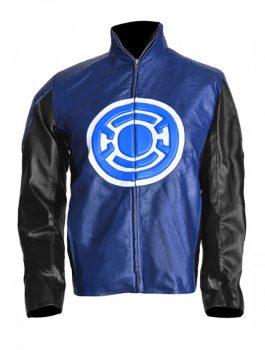 Barry Allen Blackest Night Blue Lantern Leather Jacket