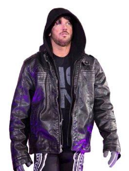 Black TNA AJ Styles Leather Hoodie