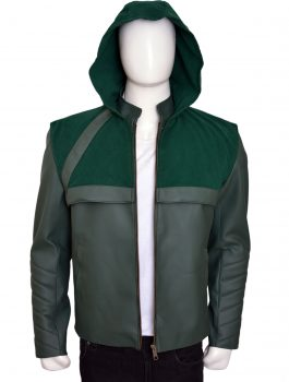 Leather Hooded , Jacket