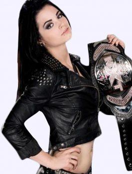 WWE Paige Black Studded Biker Jacket