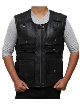 WWE Roman Reigns Black Leather Vest