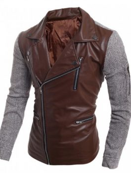 Zipper Korean Men Slim PU Leather Jacket