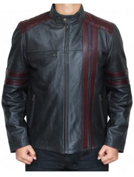 Black jacket, Burgundy Stripes Leather Jacket