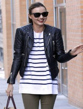 Miranda Kerr Biker Leather Black Stylish Jacket