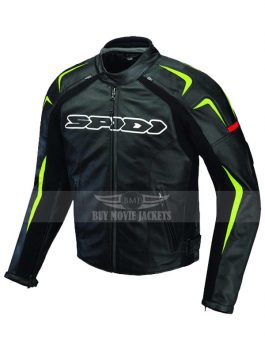 Sports Bike Leather Green Detailed Jacket
