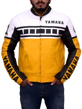 Yamaha Vintage Bike Riding Yellow Leather Jacket