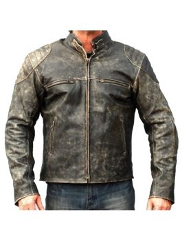 Mens Biker Distressed Hooligan Jacket